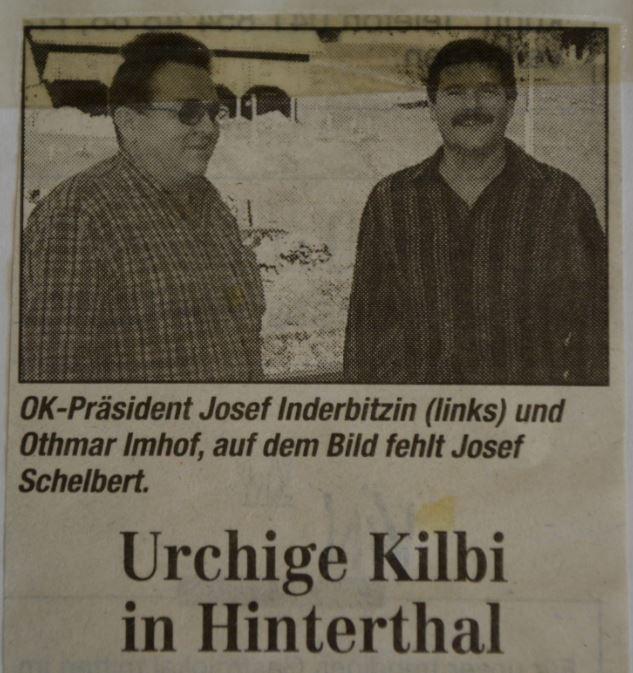 zeitungsausschnitt von 1998 mit josef inderbitzin und othmar imhof